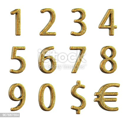 673234458istockphoto Old golden numbers on a white background. 3d rendering. 907687554