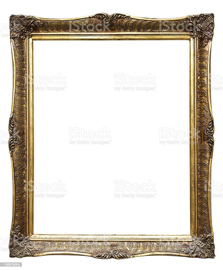 Old golden retro frame, isolated on white (No#8) royalty-free stock photo