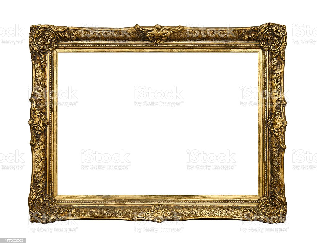 Old golden retro mirror frame, isolated on white stock photo
