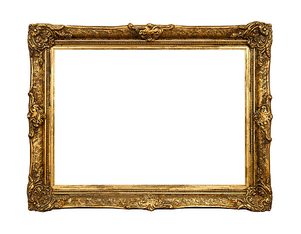 alte goldene retro-spiegel, gläser, isoliert auf weiss - alte spiegel stock-fotos und bilder