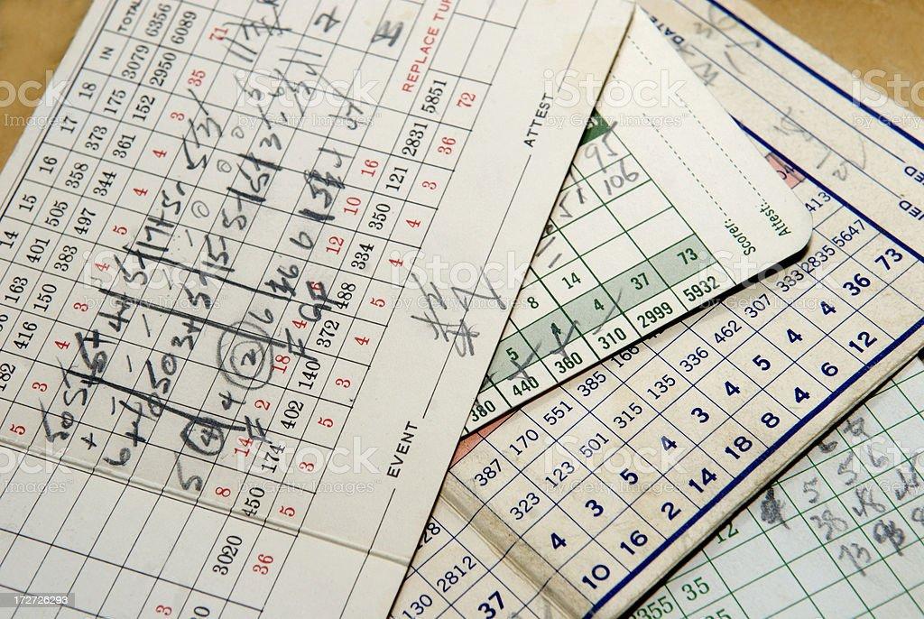 Old Golf Scorecards stock photo