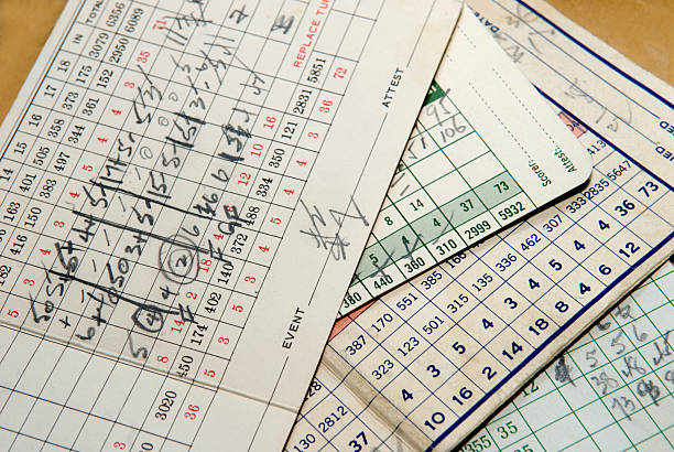 old golf scorecards - scoring stock photos and pictures