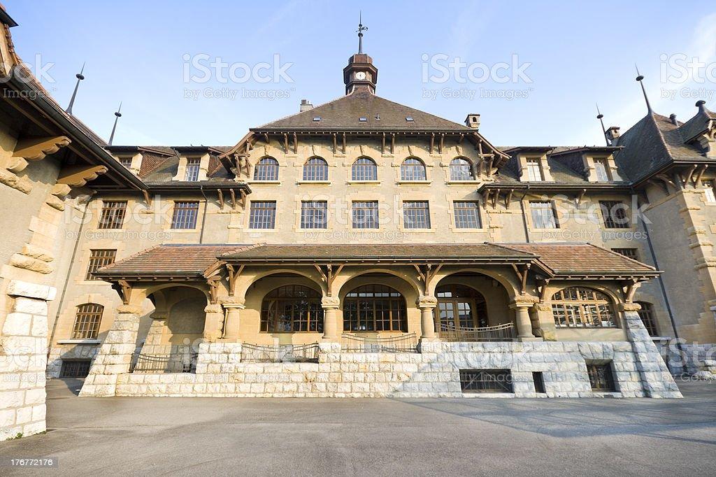 Old Gothic Style School, Geneva, Switzerland,  Wide Angle Lens royalty-free stock photo