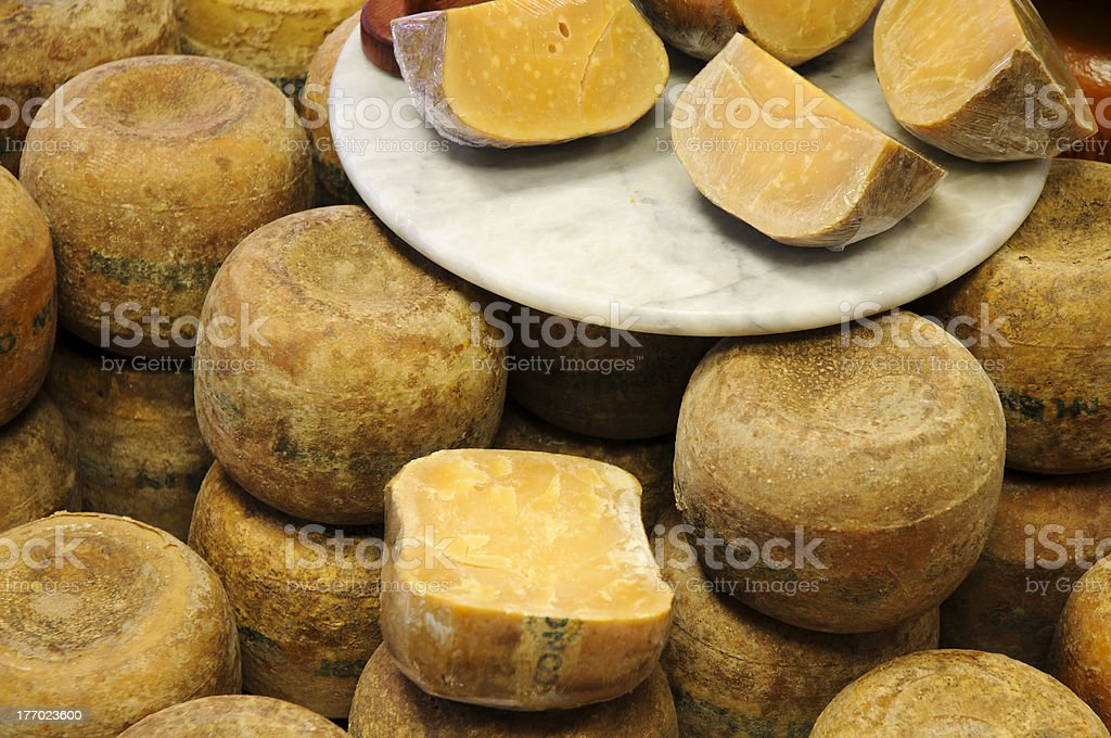 Old Gouda Cheese in Counter stock photo