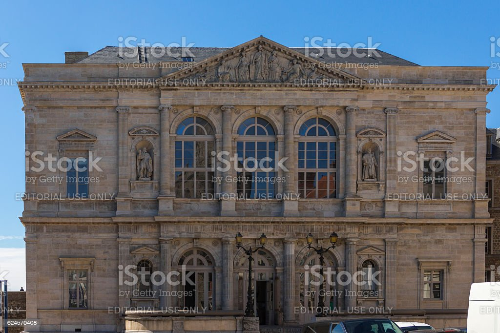 old government building by street at boulogne-sur-mer at normandy france - Photo