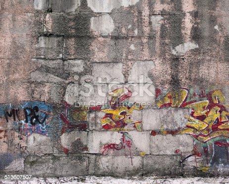 istock Old graffiti wall 513607507