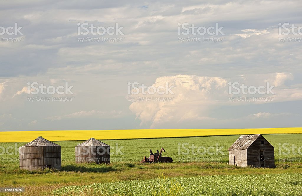 Old Grain Bins on the Plains royalty-free stock photo