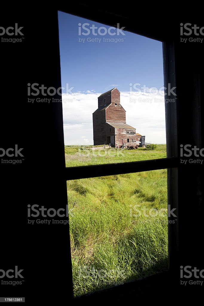 Old Grain Elevator Through Window royalty-free stock photo