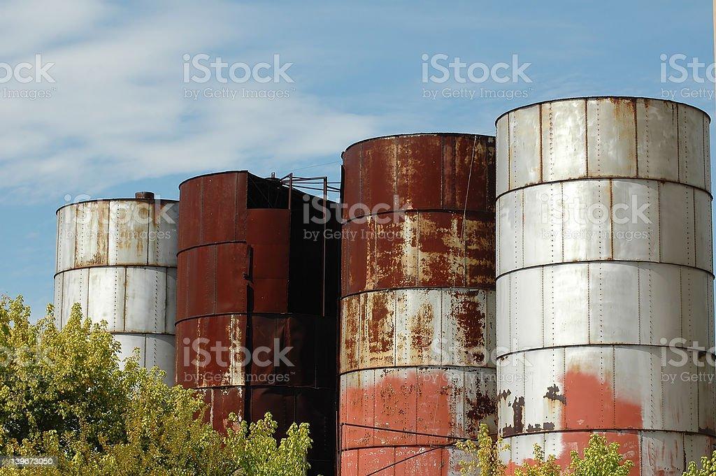 Old grain silos stock photo