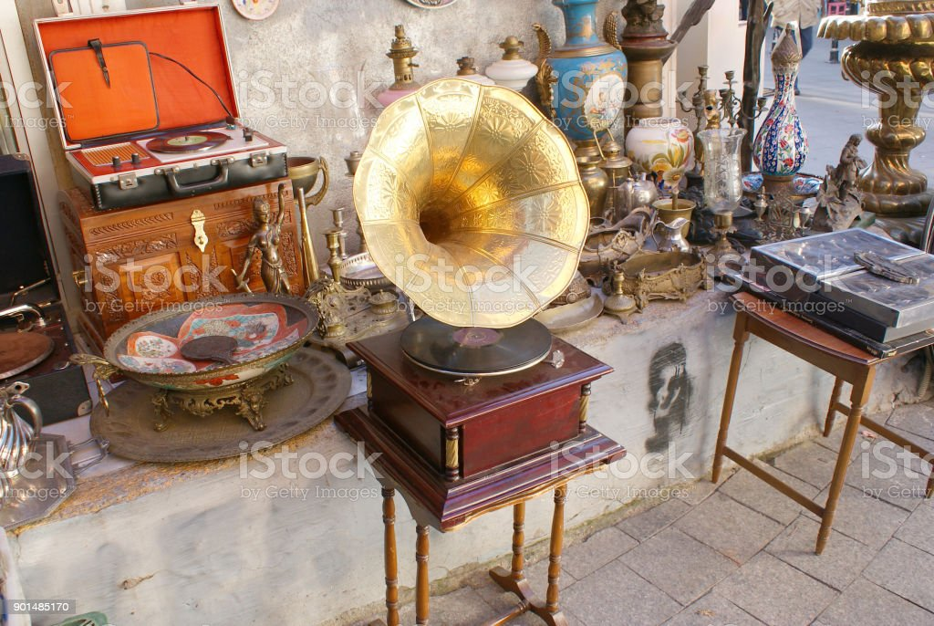 Old gramophone between antique wares, Kadikoy, Istanbul stock photo