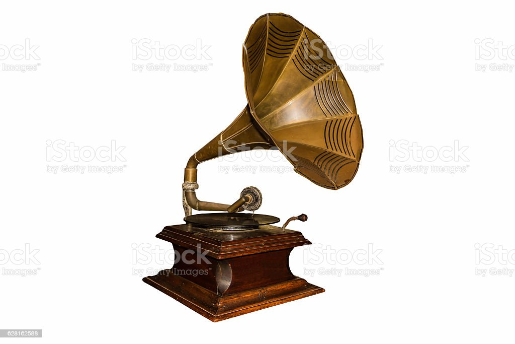 Old gramophone - cut out stock photo