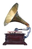 istock Old gramophone from an isolate white background 136540499