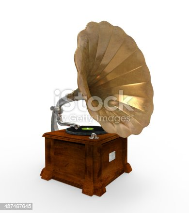 Old Gramophone with Horn Speaker isolated on white background