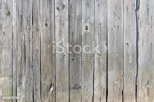 Old, gray, weathered wooden wall made of vertical boards in close-up