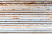 Old gray rusted corrugated metal wall
