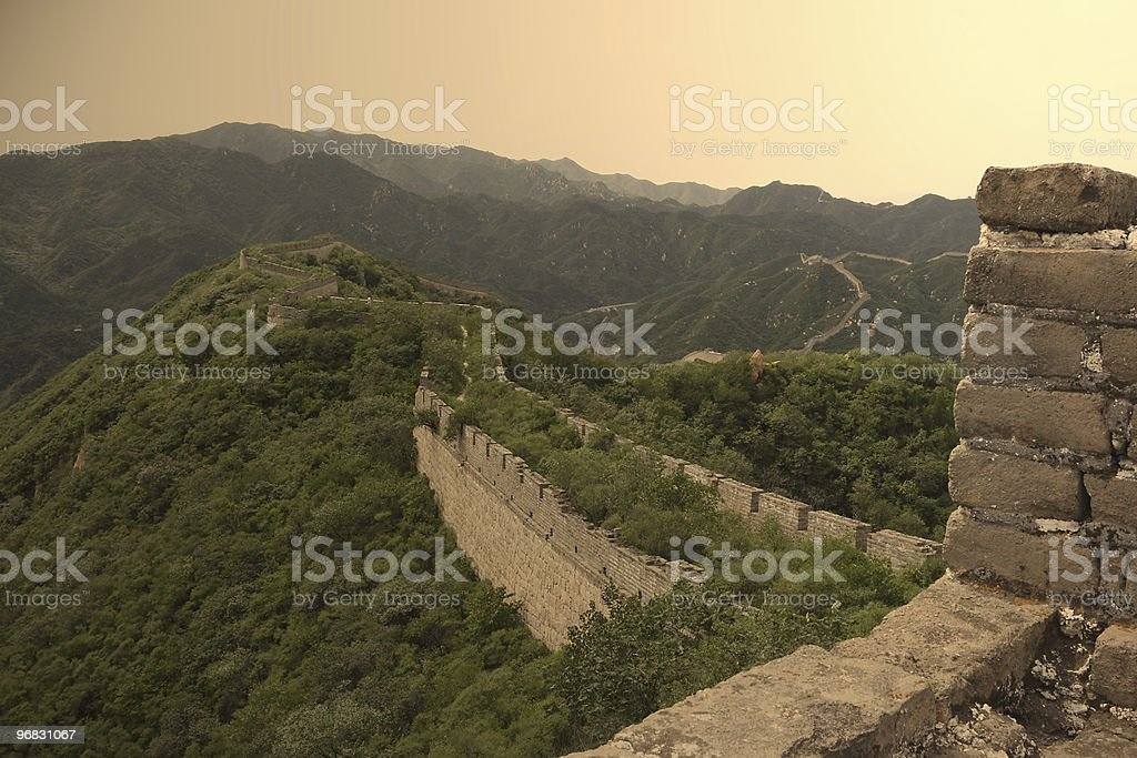 Old Great Wall Top Sunset stock photo
