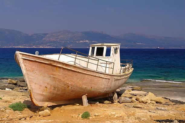 Alten griechischen Fischerboot, Elafonisos Island – Foto