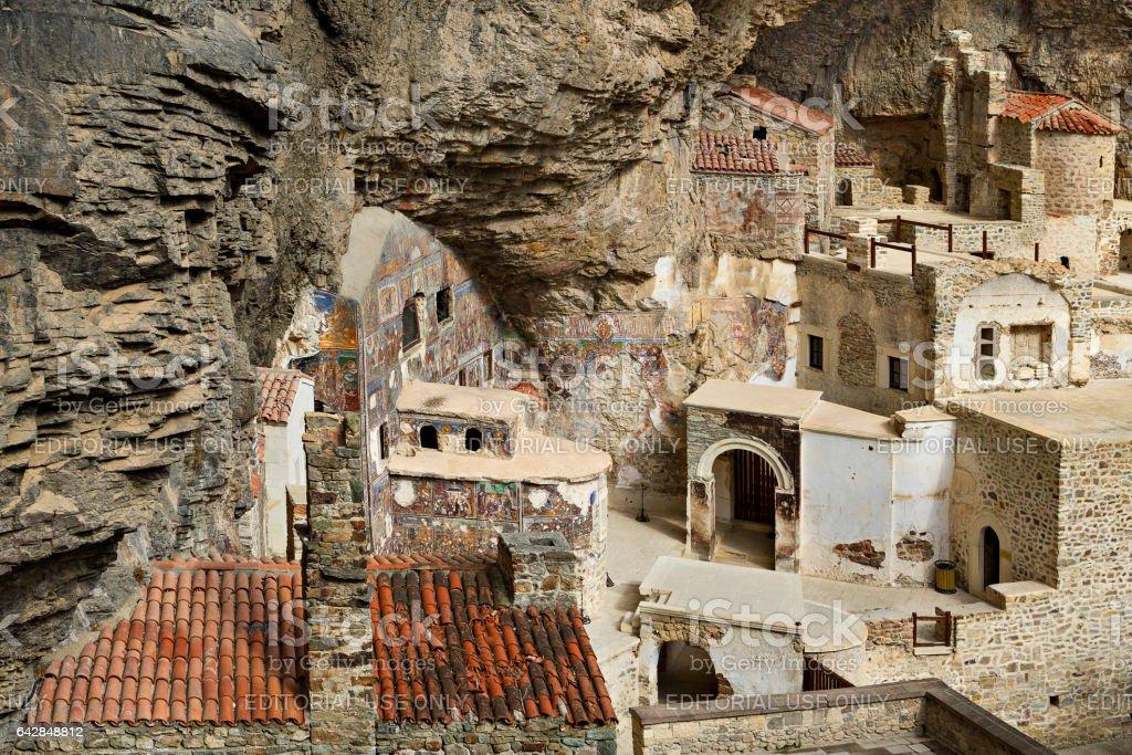 Trabzon, Turkey - April 2, 2014: Old Greek Orthodox Monastery of Sumela, dedicated to Virgin Mary, in Trabzon, Turkey. stock photo