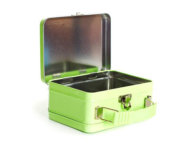 old green metal lunchbox opened on a white background. - lunchlåda bildbanksfoton och bilder