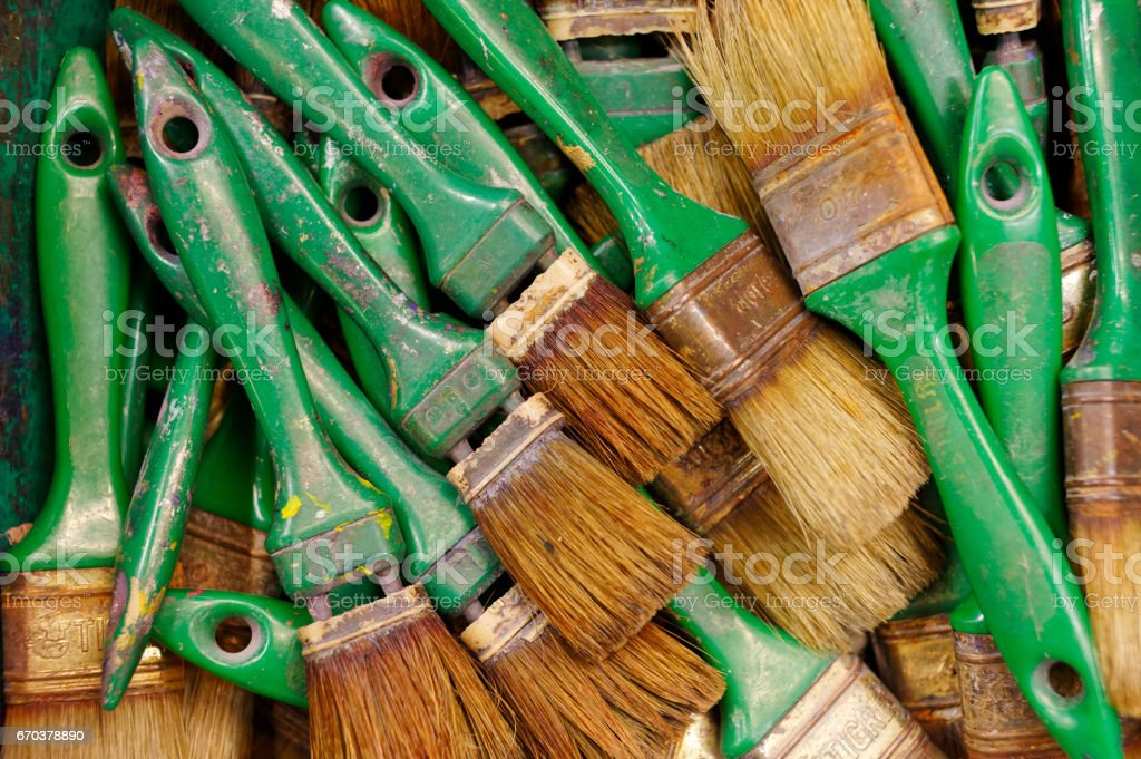 Old green paintbrushes royalty-free stock photo