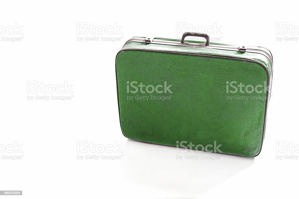 Old green suitcase stock photo