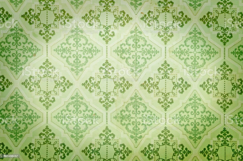 Old green wallpaper stock photo