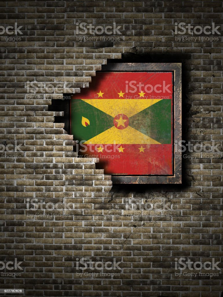 Old Grenada Flag In Brick Wall Stock Photo - Download Image