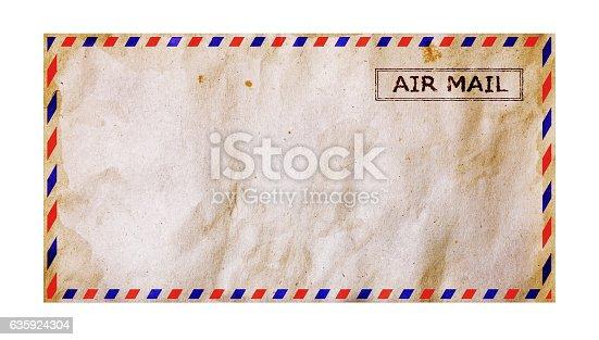 istock Old grunge airmail envelope 635924304