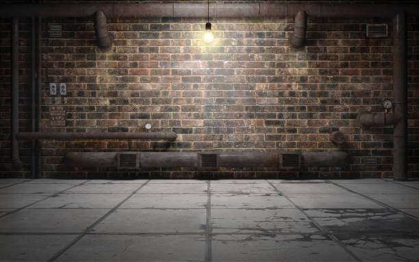 old grunge basement room with rust pipes. 3d rendering - basement stock pictures, royalty-free photos & images