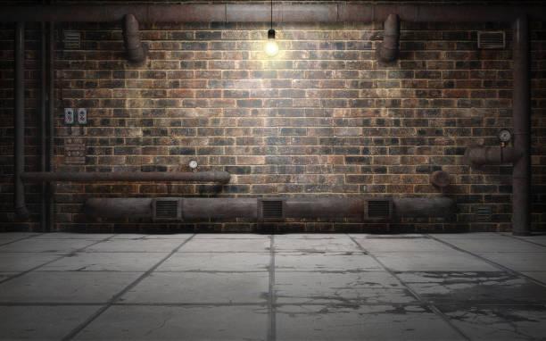 antigua sala de sótano de grunge con tubos de moho. render 3d - basement fotografías e imágenes de stock