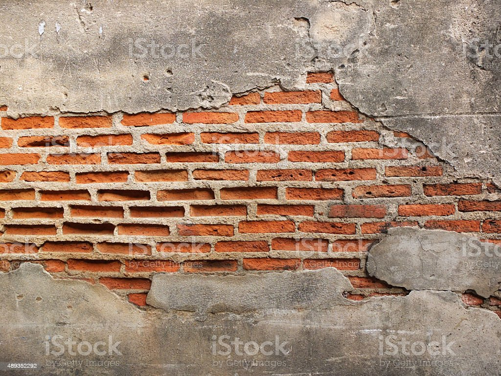 old grunge brick wall with space for text, texture background stock photo