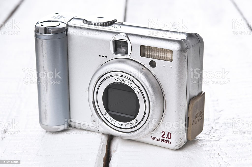 Old grunge compact photo camera stock photo