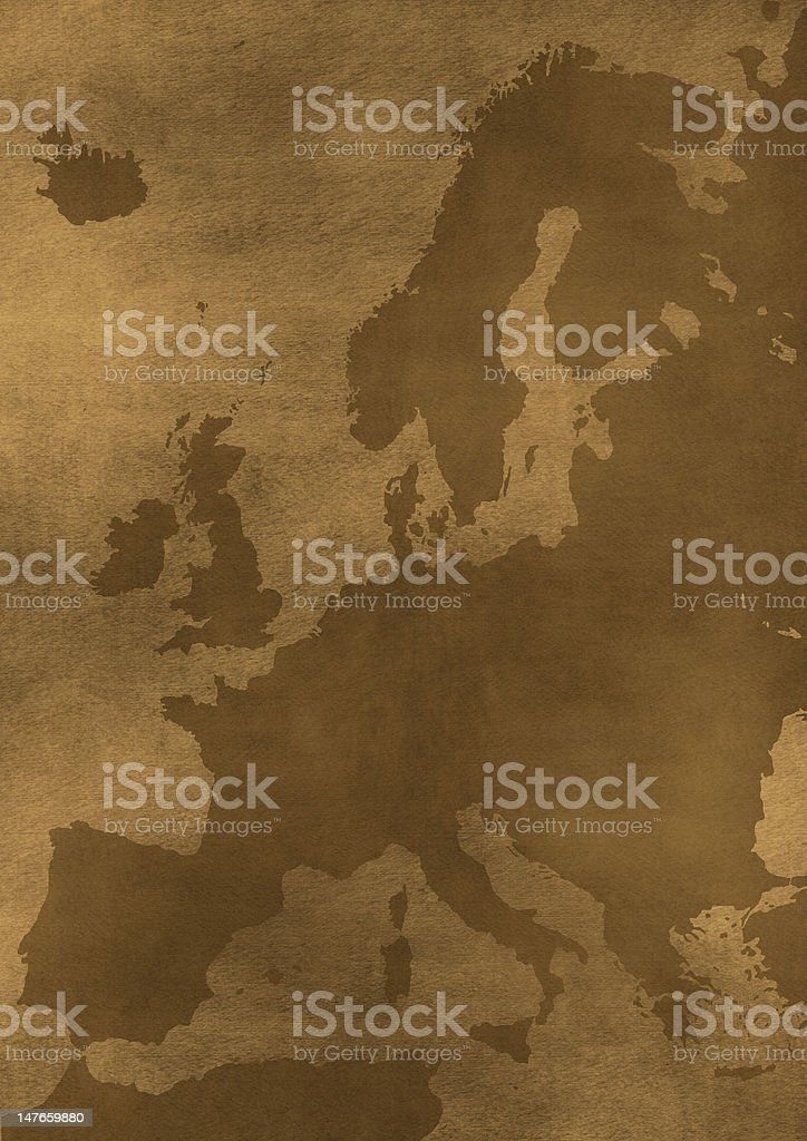 Old grunge Europe map illustration royalty-free stock photo