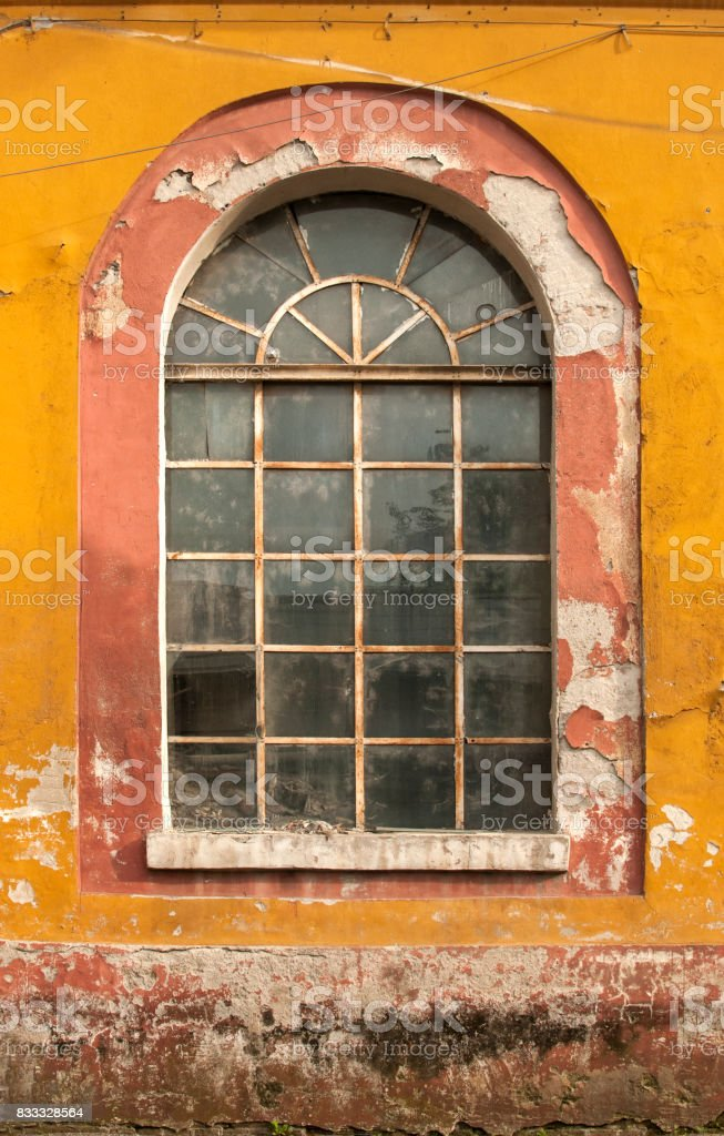 Old grunge glass window stock photo