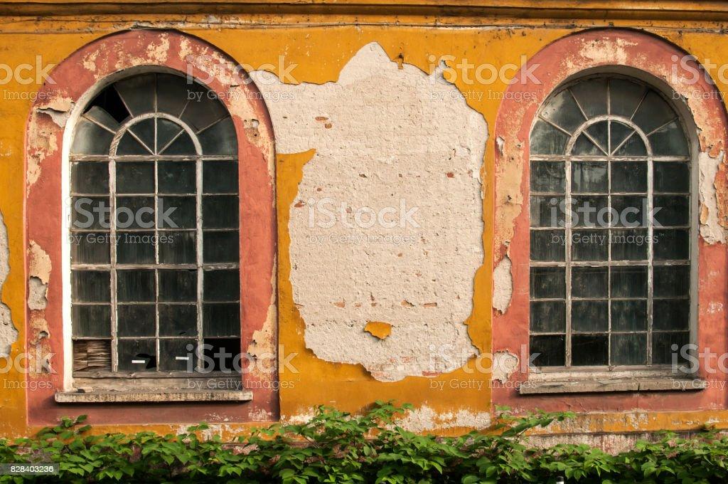 Old grunge glass windows stock photo