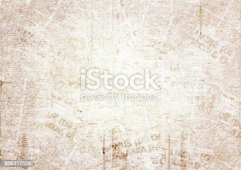 istock Old grunge newspaper texture background 936317558