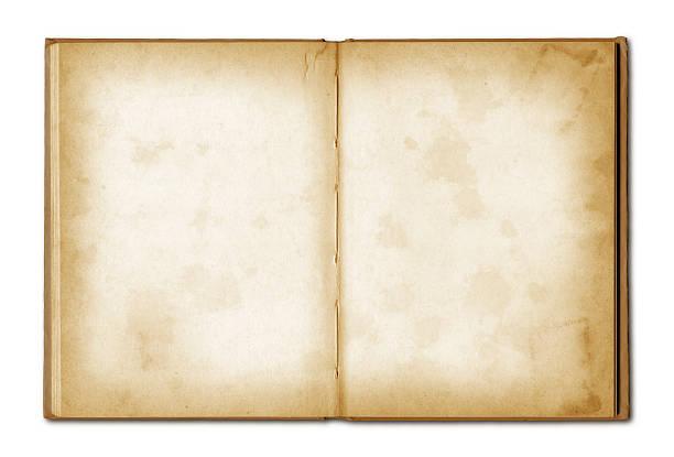 Velho caderno aberto grunge - foto de acervo