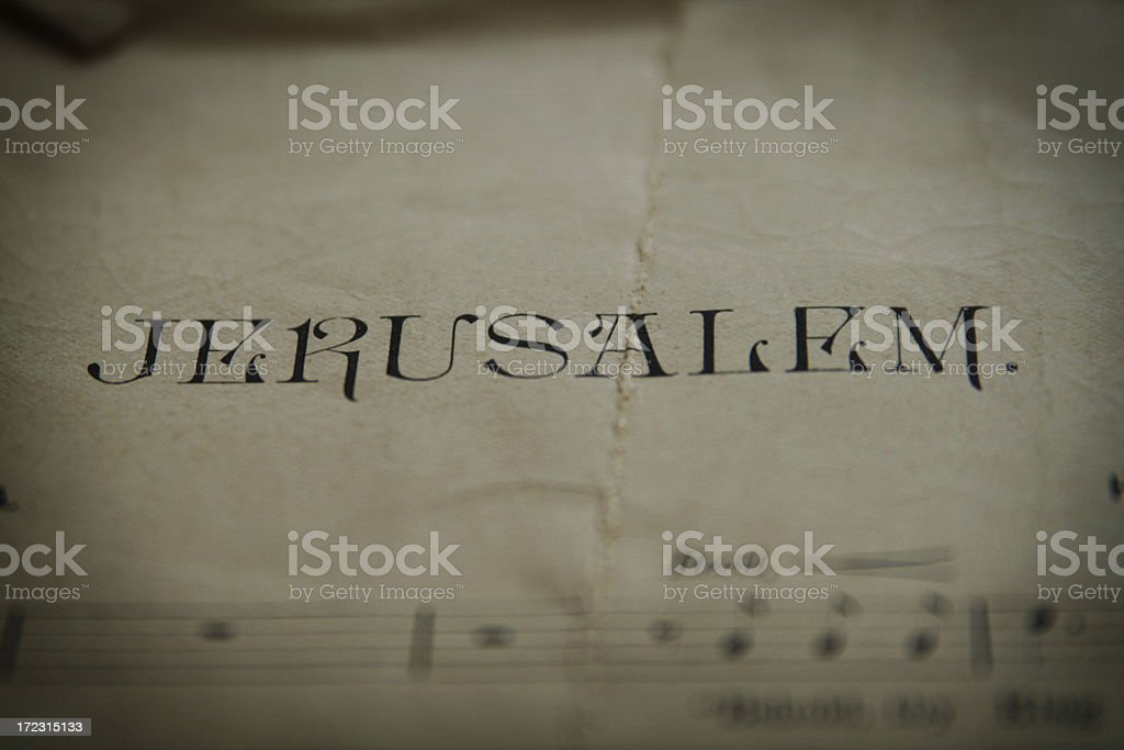 Old Grunge Paper with the name 'Jerusalem' royalty-free stock photo