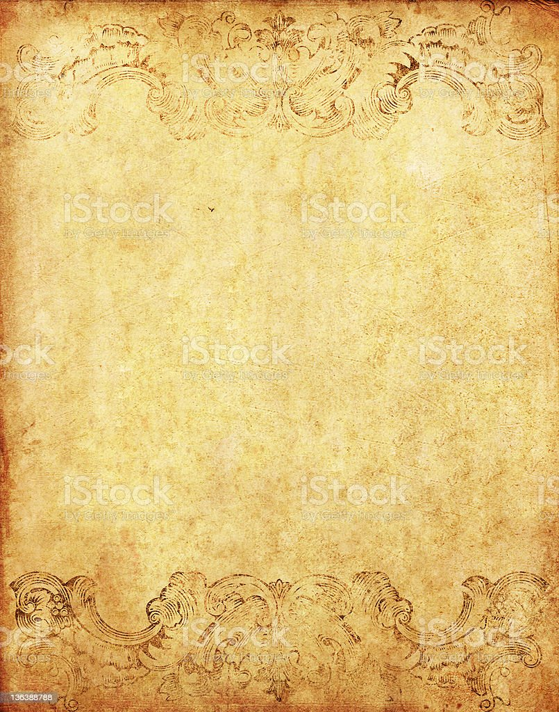 old grunge paper with victorian style stock photo