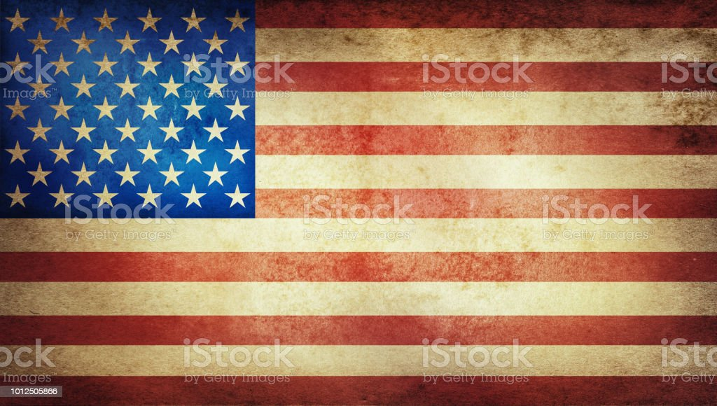 Old grunge vintage American US national flag. stock photo