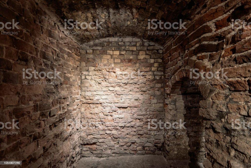 Old grunge vintage Basement interior with bricks walls and floor