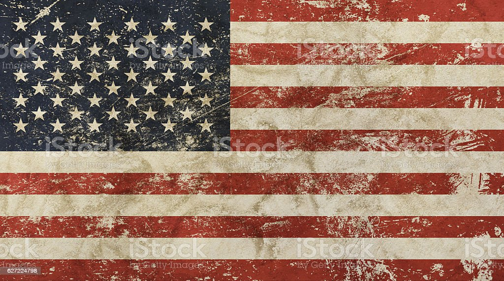 Old grunge vintage faded American US flag stock photo