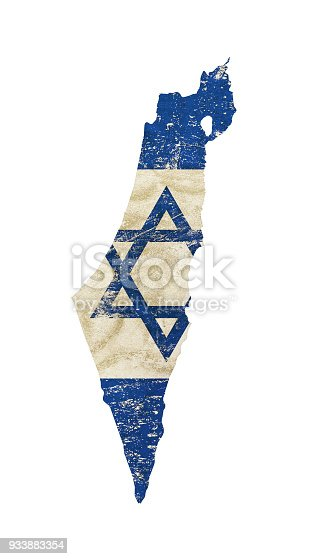 Old grunge vintage dirty faded shabby distressed Israel flag of white background with blue Star of Judah (Magen David)