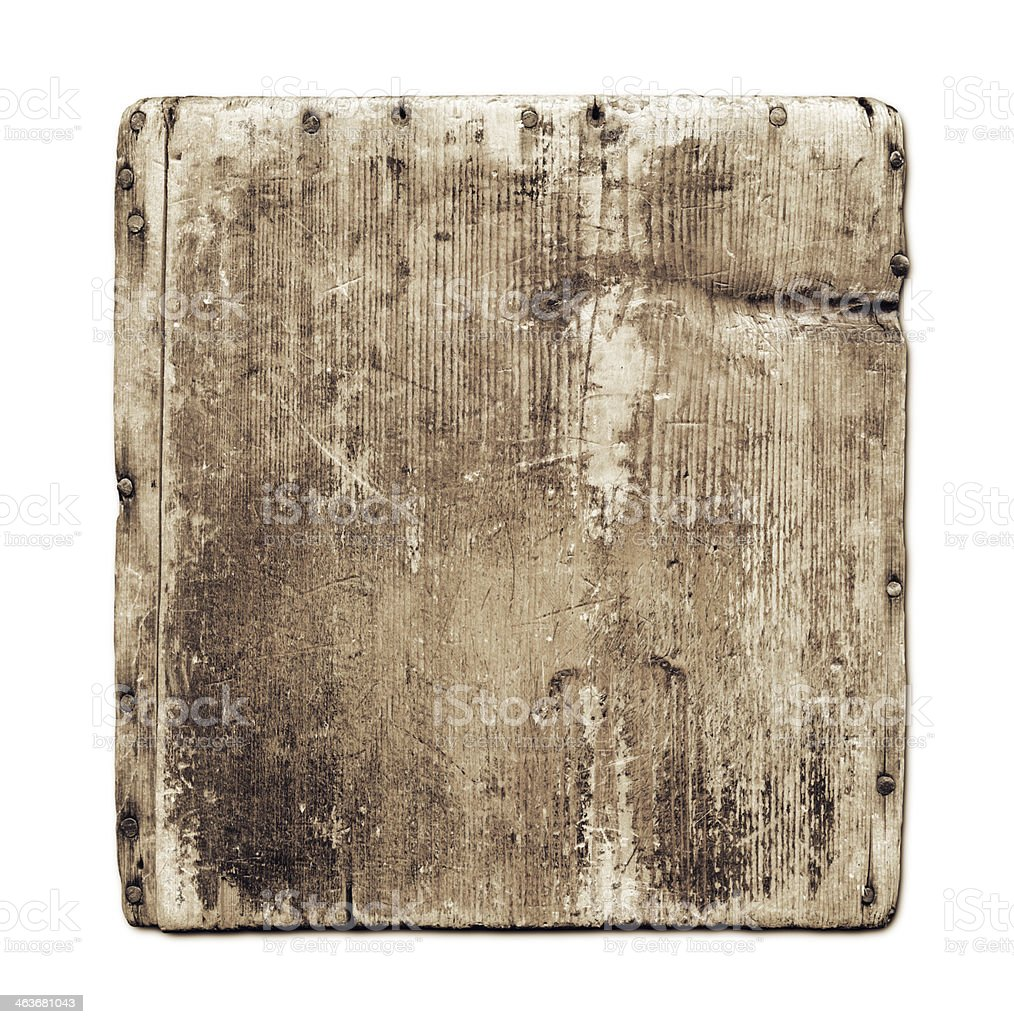 Old grunge wood board isolated on white stock photo