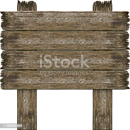 Old grunge wooden sign isolated on white background