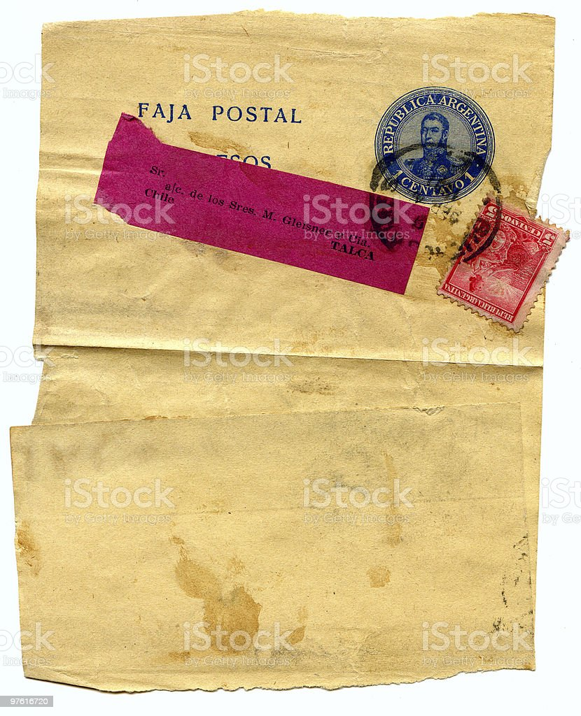 Old grunge, yellowed, stained letter royalty-free stock photo