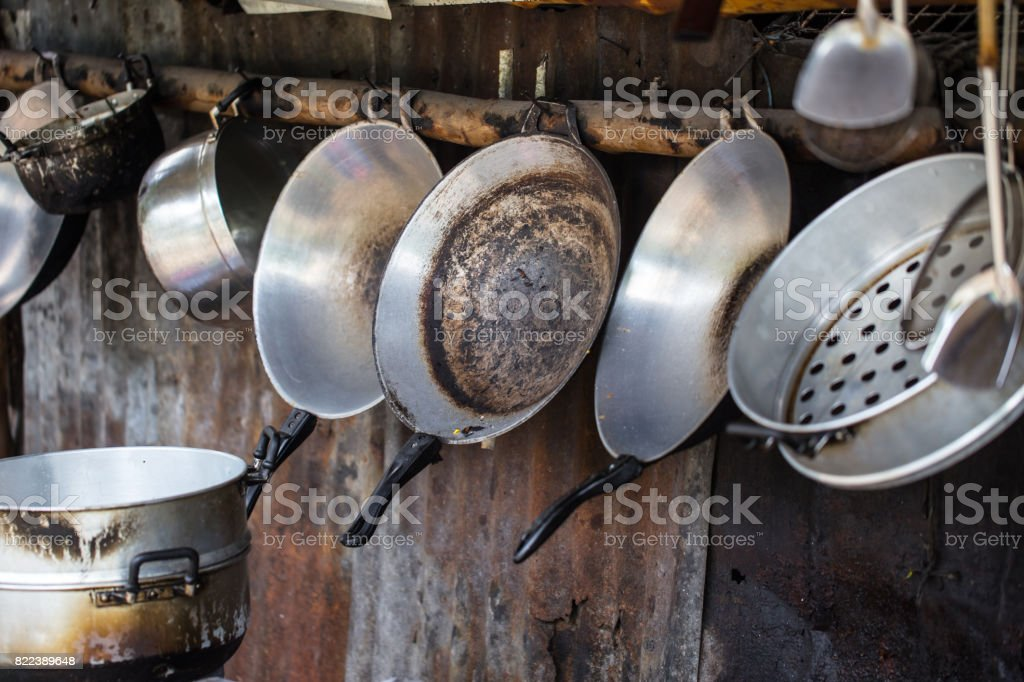Old grungy dirty kitchen. stock photo