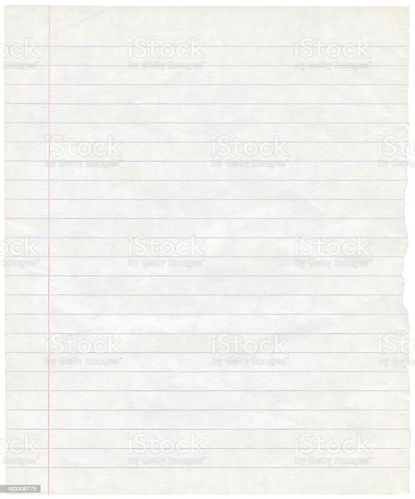 Old grungy lined note paper sheet background texture, macro closeup stock photo