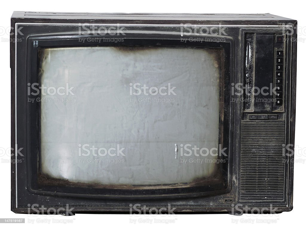 Old grungy TV stock photo