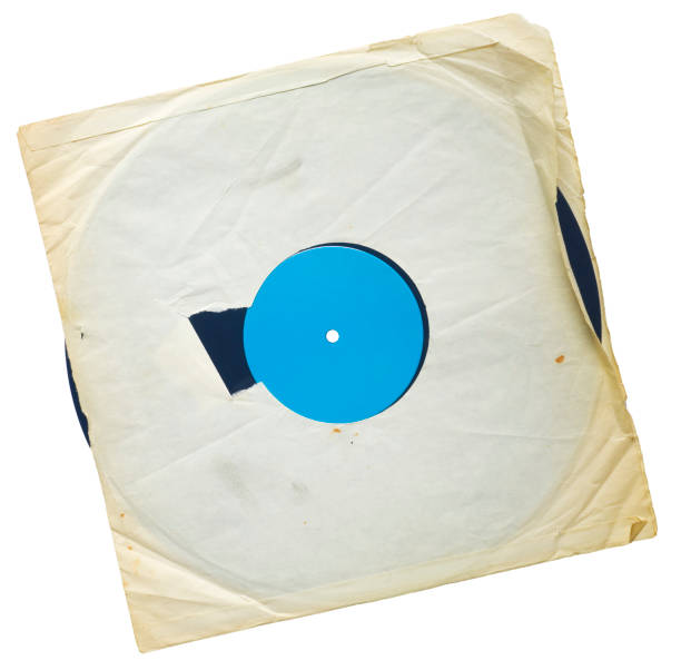 Alten grunge Vinyl-Schallplatte mit vergilbten Innenhülse, kostenlose Textfreiraum, isoliert auf weiss – Foto